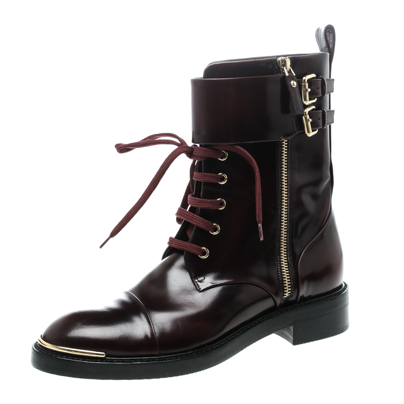 Купить со скидкой Louis Vuitton Burgundy Leather Like A Man Ranger Boots Size 37