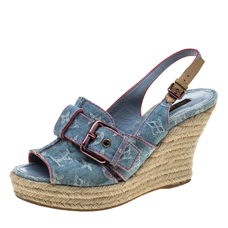 2628a25f1064 ... Louis Vuitton Bleached Monogram Denim Espadrille Wedge Slingback Sandals  Size 38.5. nextprev. prevnext