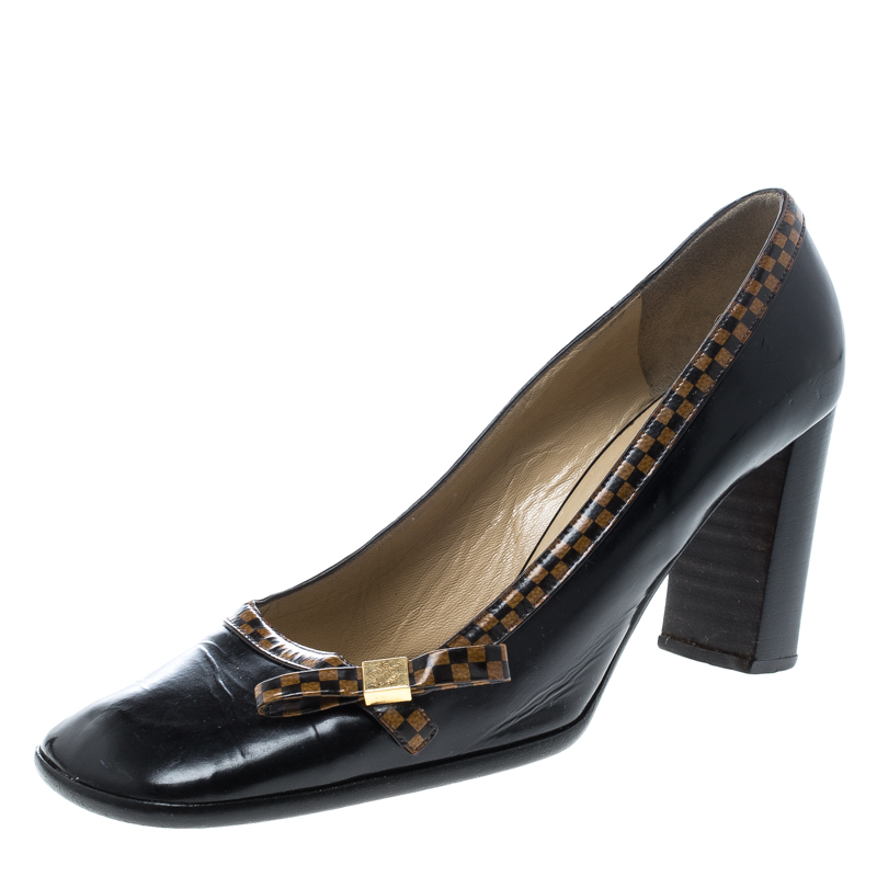 4f62e62382e Buy Louis Vuitton Black Leather Bow Detail Square Toe Block Heel ...