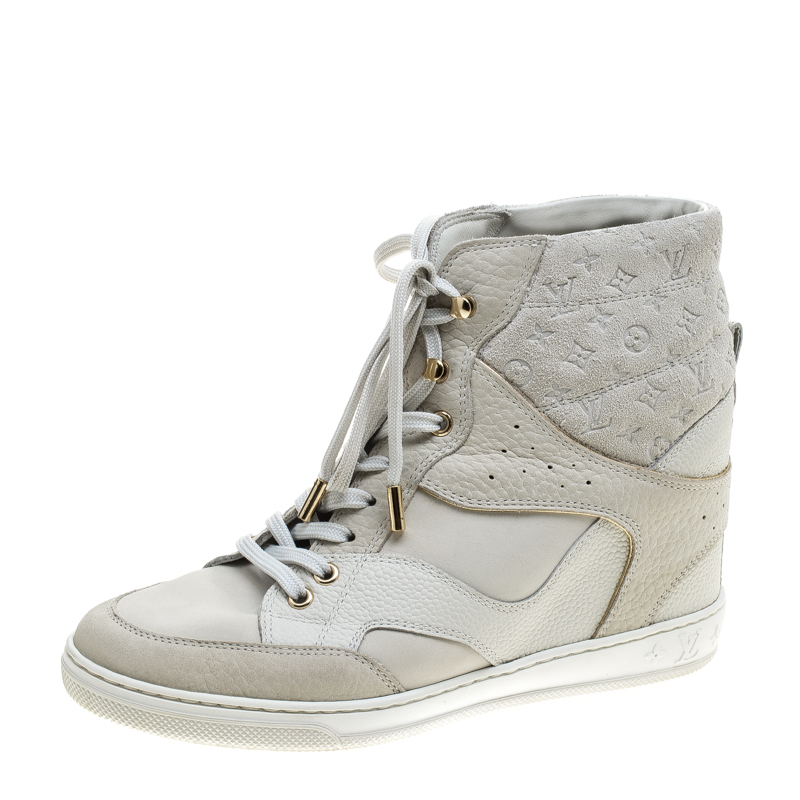 1953b3b25b0 Louis Vuitton Off White Monogram Suede and Leather Cliff Top Sneakers Size  37
