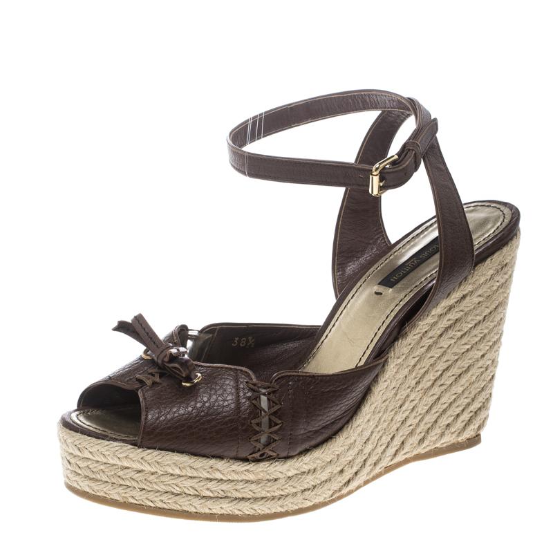 be275ae0c6e8 ... Louis Vuitton Brown Leather Ankle Strap Espadrilles Wedges Sandals Size  38.5. nextprev. prevnext