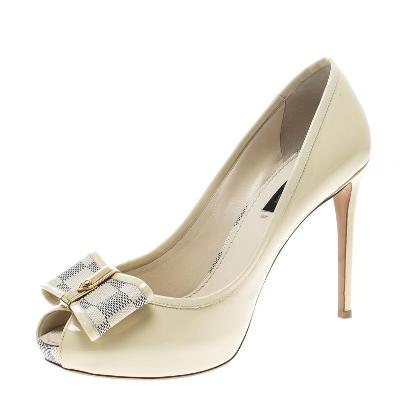 3b1deb2fc7 ... Louis Vuitton Pale Yellow Patent Damier Azure Valentine Peep Toe Pumps  Size 37.5. nextprev. prevnext