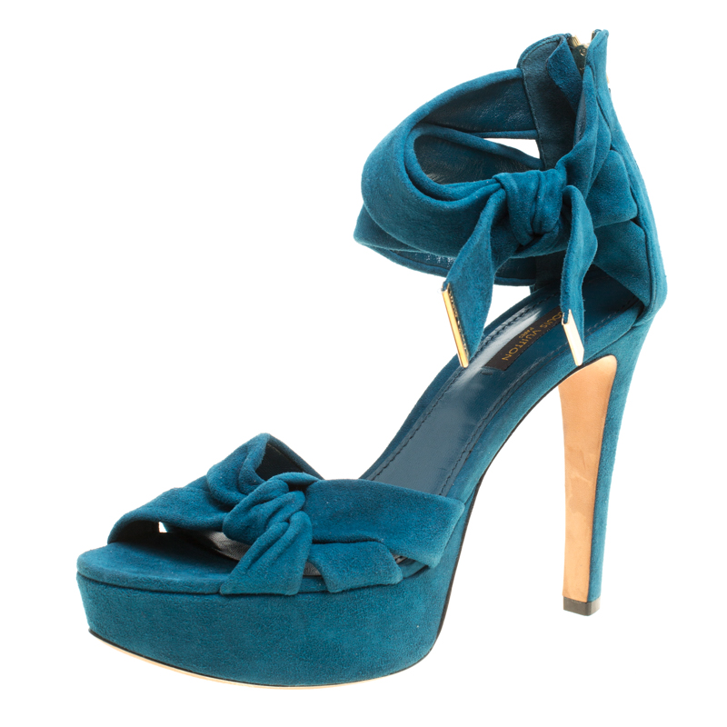 a0fc627f97f9 Buy Louis Vuitton Teal Suede Platform Sandals Size 38 156772 at best ...