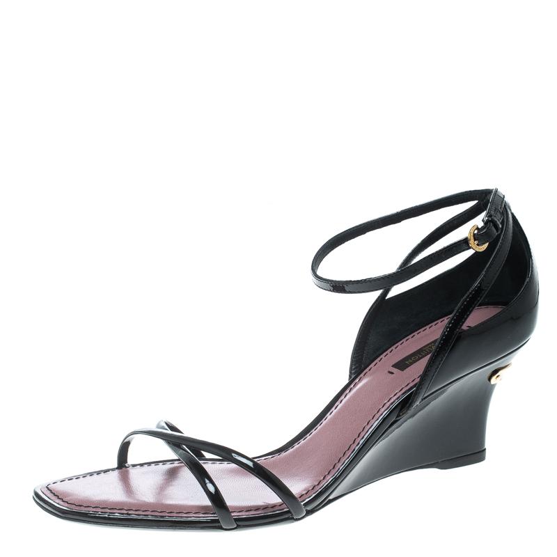 8b60e97875d67 ... Sandals Size 39 Nextprev Prevnext. Louis Vuitton Black Patent Leather  Strawberry Cross Strap Wedge
