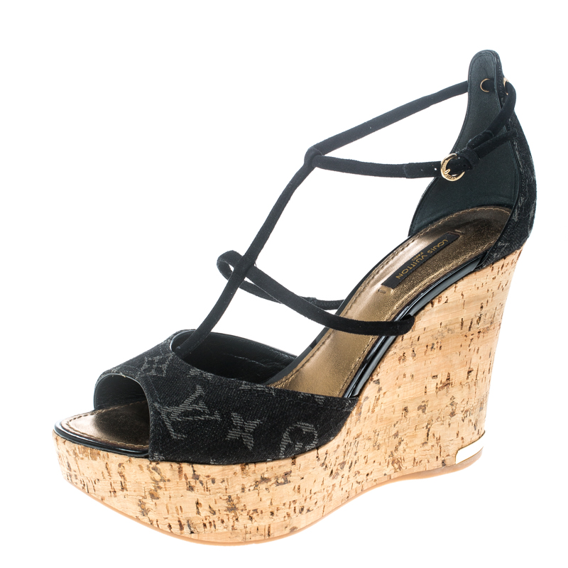 18d6f541c1ec ... Louis Vuitton Black Monogram Denim Blue Oasis Wedge Sandals Size 41.  nextprev. prevnext
