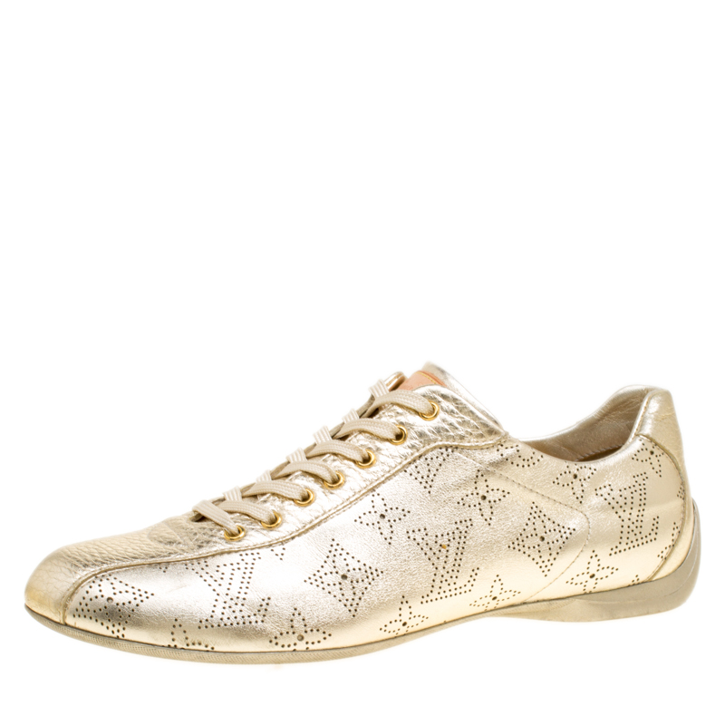 dab3a27f020a ... Louis Vuitton Metallic Gold Leather Perforated Leather Sneakers Size  38. nextprev. prevnext