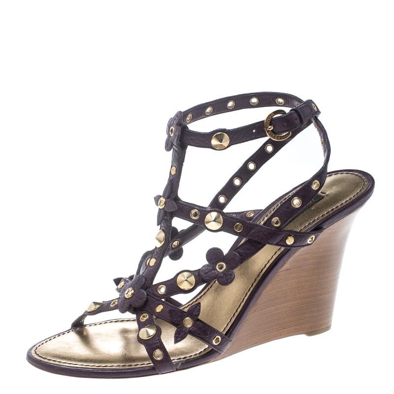 4ba5db6296b6 ... Louis Vuitton Purple Leather Studded Wedge Sandals Size 38.5. nextprev.  prevnext