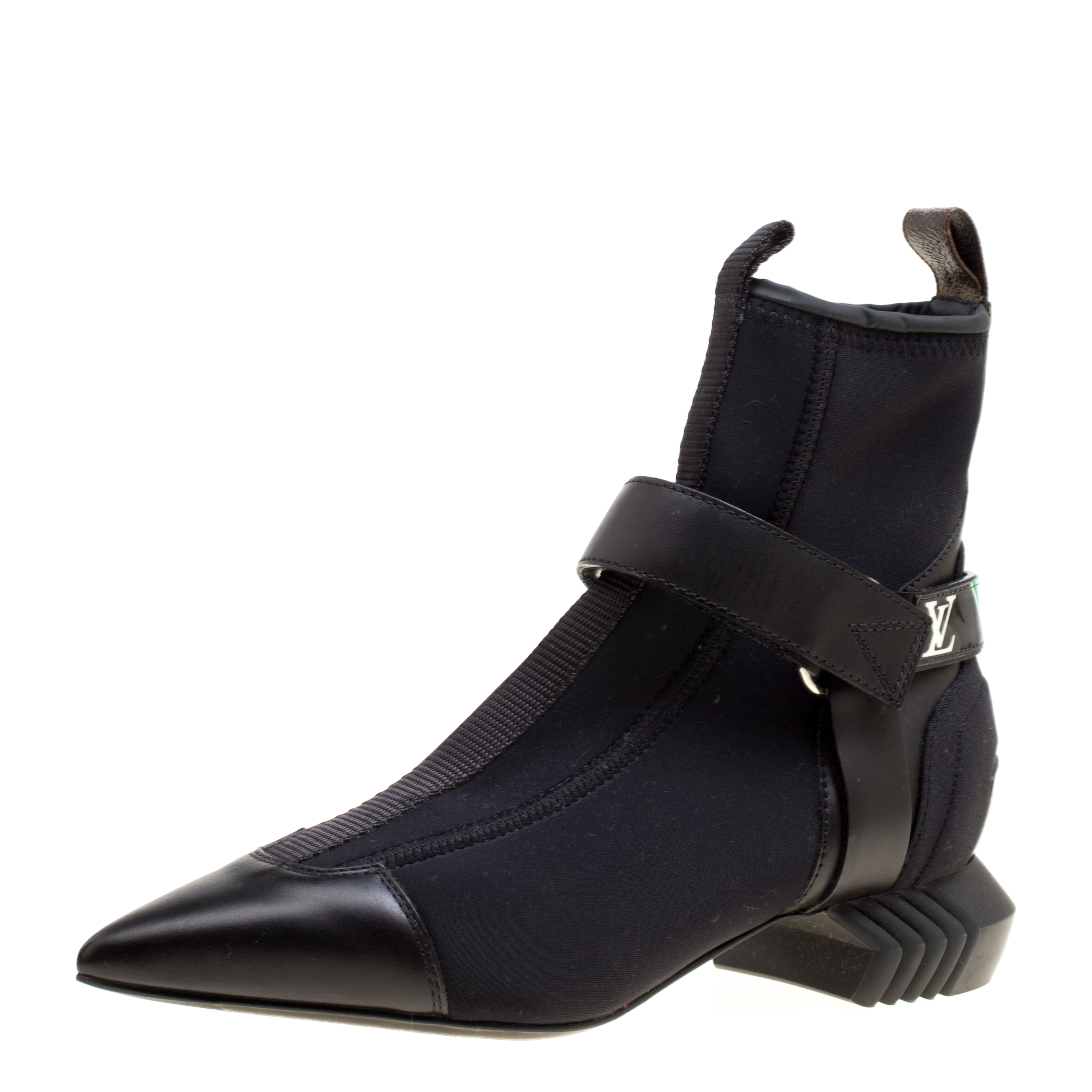 4df2f7c13b266 ... Black Neoprene and Leather Deep Sea Pointed Toe Ankle Boots Size 35.  nextprev. prevnext