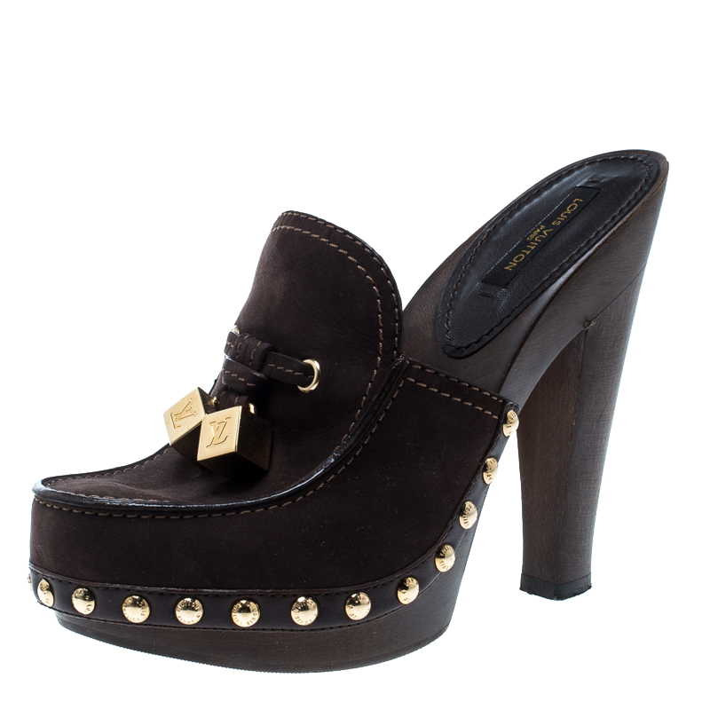 0d6d15a182ca ... Louis Vuitton Brown Nubuck Dice Clogs Size 36. nextprev. prevnext
