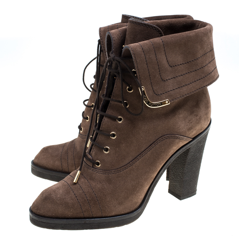 outlet store timeless design 2018 sneakers Louis Vuitton Brown Suede Lace Up Ankle Boots Size ...