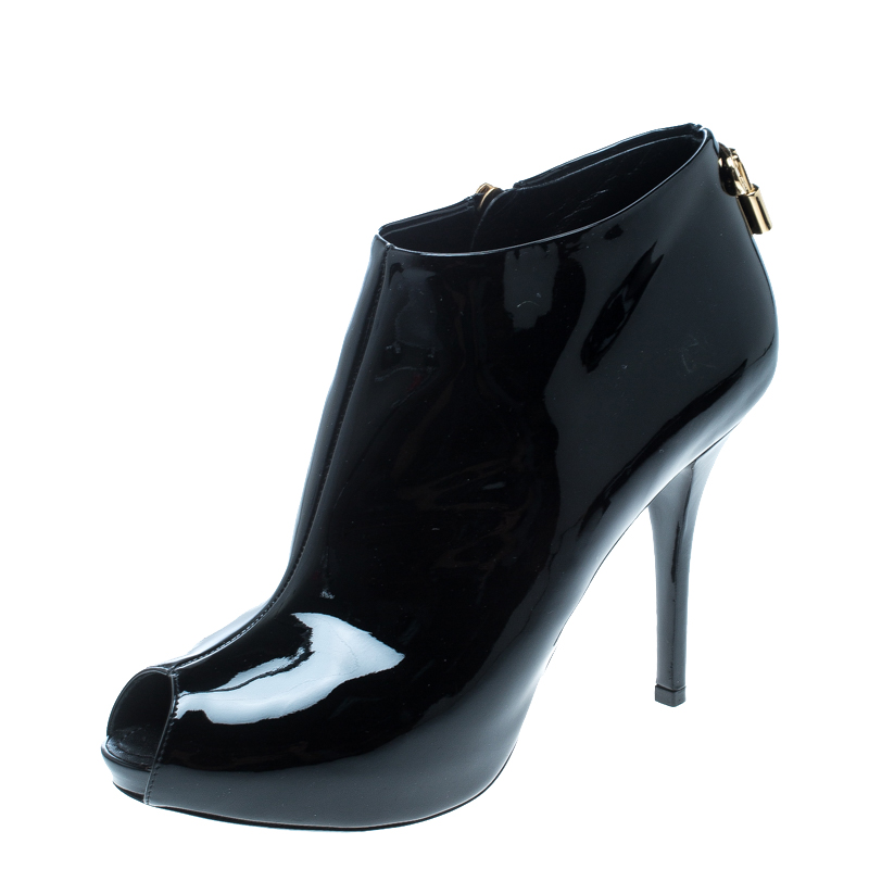 630306f8dbab ... Louis Vuitton Black Patent Leather Oh! Really Peep Toe Booties Size 38.  nextprev. prevnext