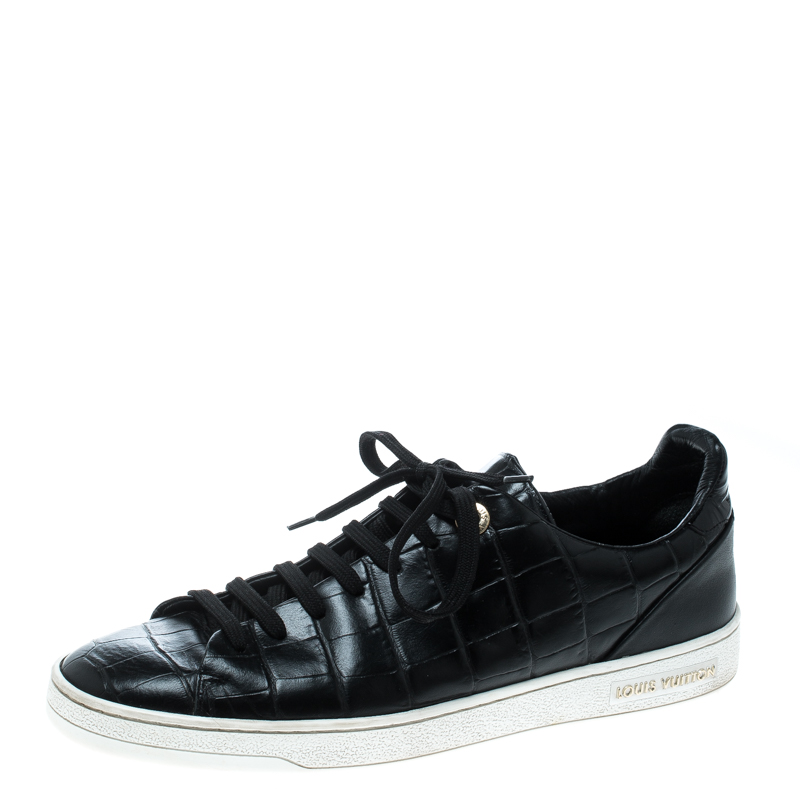 dbef660052fd ... Louis Vuitton Black Crocodile Embossed Leather Frontrow Sneakers Size  39.5. nextprev. prevnext