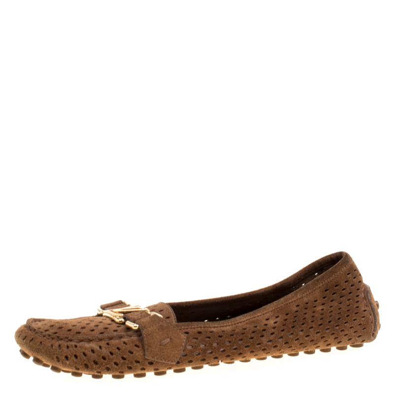 Louis Vuitton Brown Perforated Suede Oxford Loafers Size 37.5