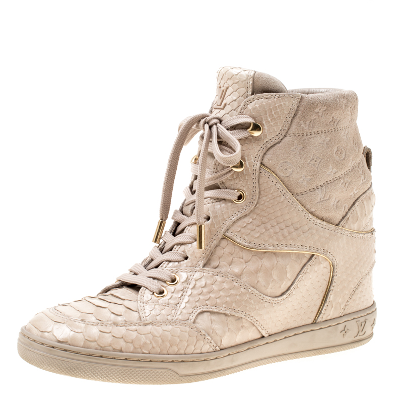 9585b0361bc Louis Vuitton Beige Monogram Suede and Leather Cliff Top Sneaker Boots Size  38