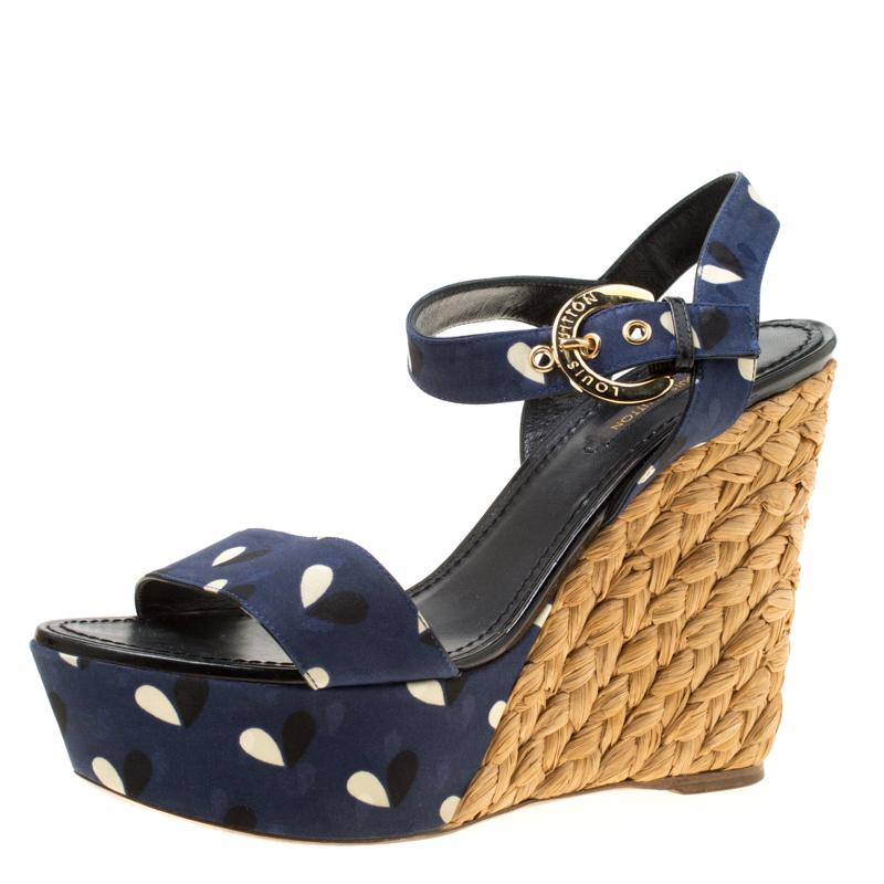 df3d0af6f5 ... Louis Vuitton Blue Printed Fabric Espadrille Wedge Sandals Size 38.  nextprev. prevnext