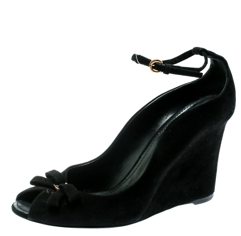 black open toe wedges with ankle strap