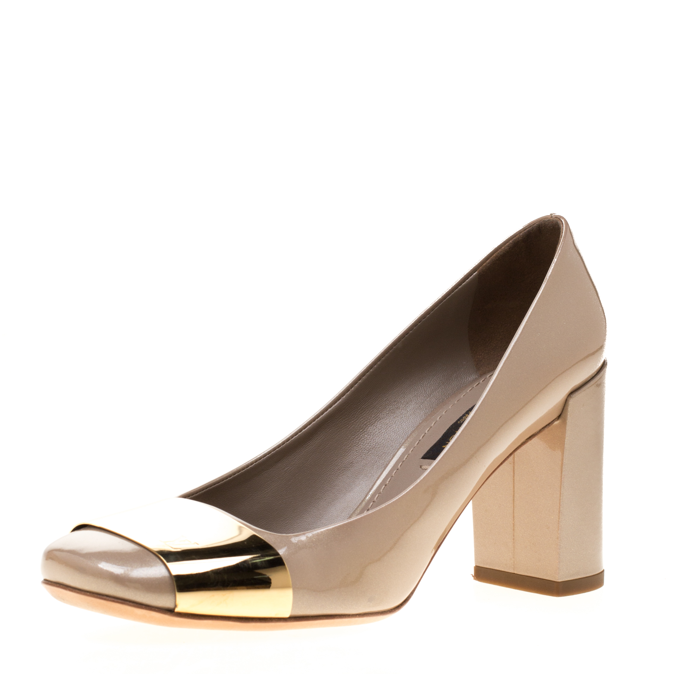 e2c014d987a1 Buy Louis Vuitton Beige Patent Leather Block Heel Pumps Size 35.5 ...