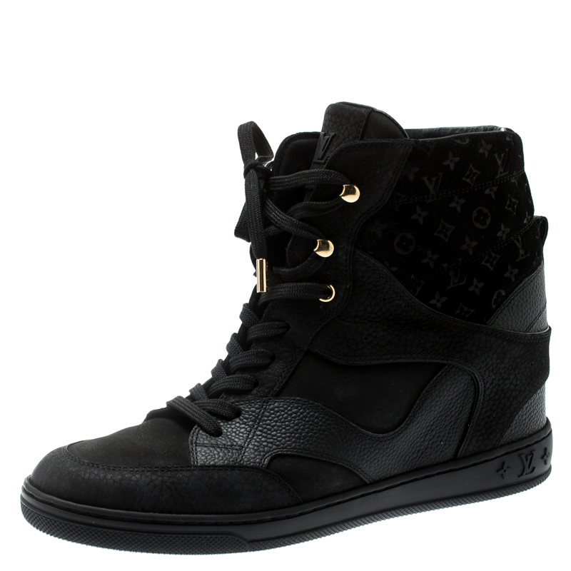 d0355960f8e Louis Vuitton Black Monogram Suede And Leather Cliff Top Lace Up Sneakers  Size 39.5