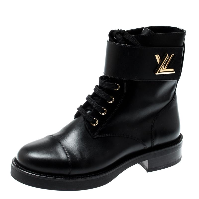 b51d3043f09 Louis Vuitton Black Leather Wonderland Ranger Ankle Length Combat Boots  Size 36