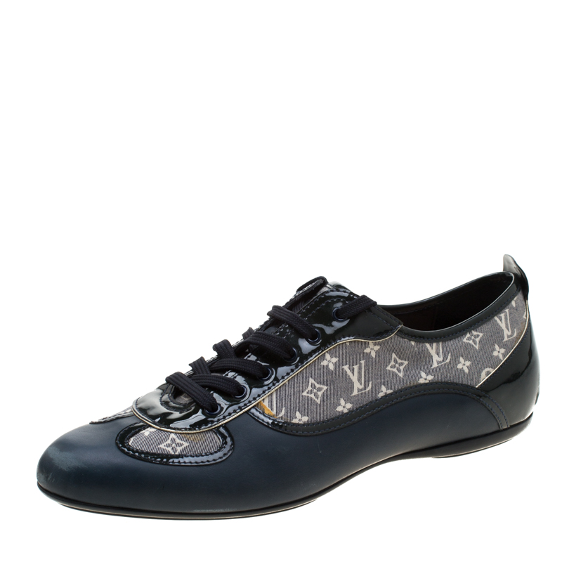 44c55978b35de Louis Vuitton Blue Leather And Grey Monogram Canvas Lace Up Sneakers Size  38.5