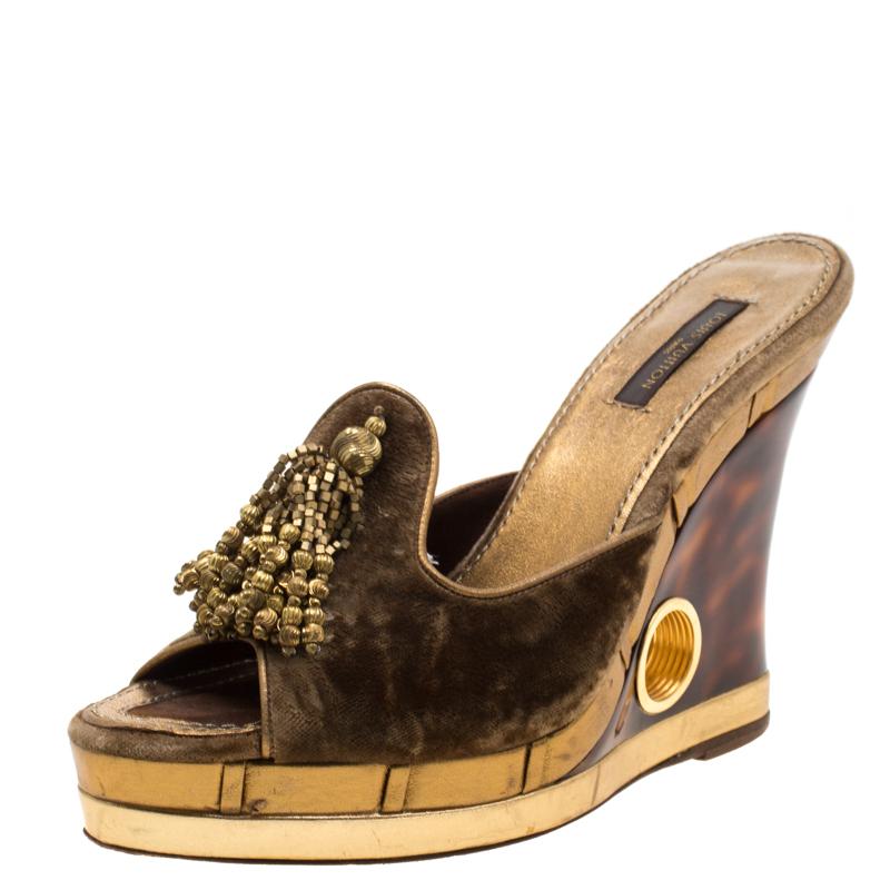 Louis Vuitton Brown Velvet Tassel Open Toe Platform Wedge Sandals Size 37