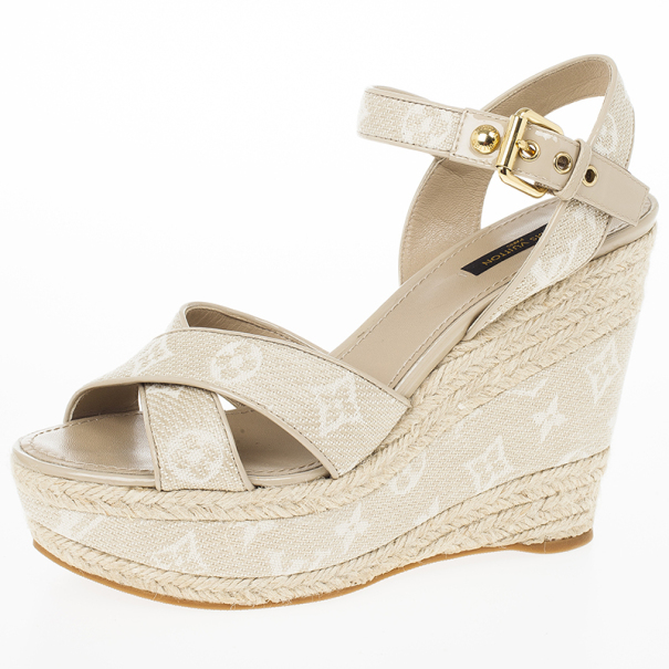 e21fc65971871 Louis Vuitton Beige Monogram Denim Formentera Espadrilles Wedge Sandals  Size 39.5