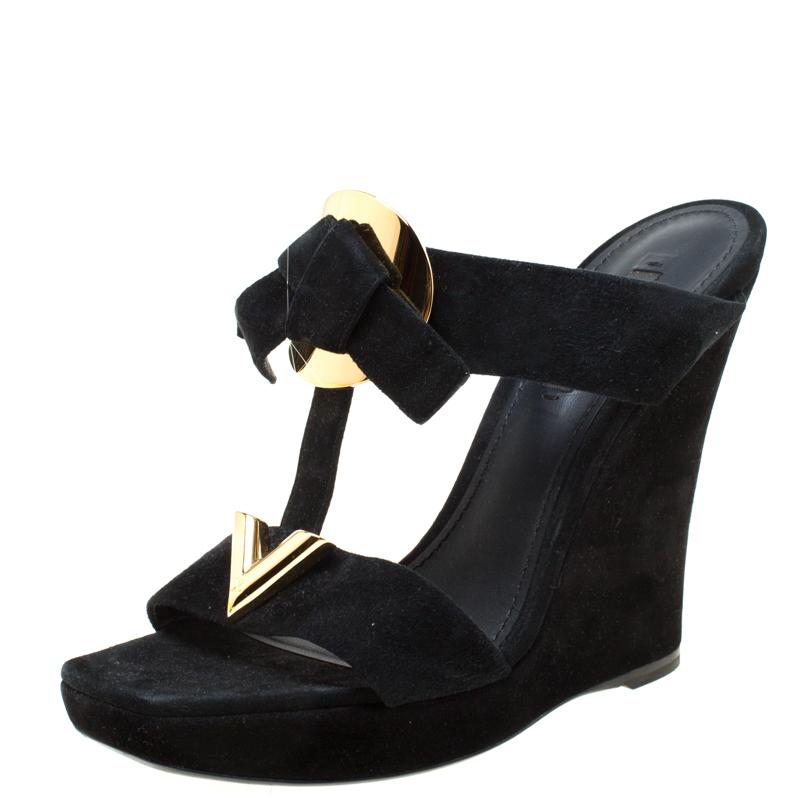 black double strap platform sandals