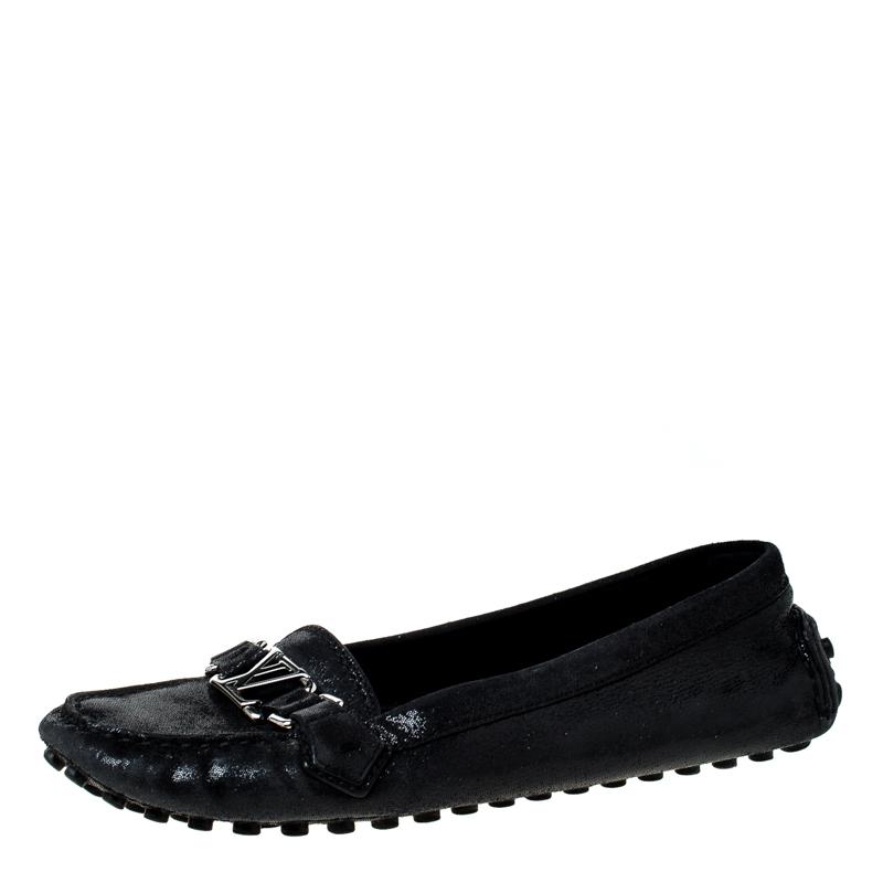 Louis Vuitton Black Glitter Suede Logo Detail Slip On Loafers Size 40