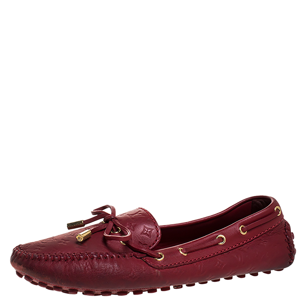 Louis Vuitton Red Monogram Embossed Leather Gloria Flat Loafers Size 36.5
