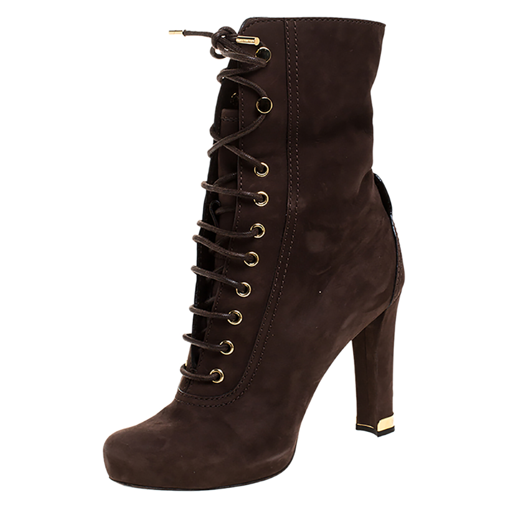 Louis Vuitton Brown Suede Empreinte Fold Over Lace Up Ankle Boots Size 39