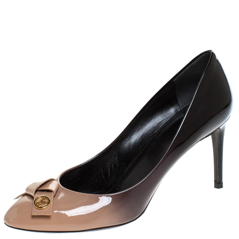 Louis Vuitton Beige/Black Ombre Patent Leather Bow Fiance Pumps 39