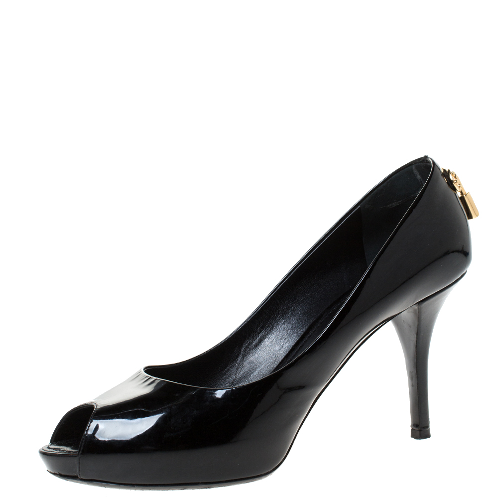 Louis Vuitton Black Patent Leather Oh Really! Peep Toe Platform Pumps Size 39