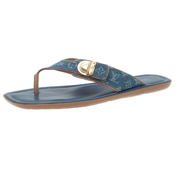 81f828ea995 Buy Louis Vuitton Denim Monogram Thong Sandals Size 40 3063 at best ...