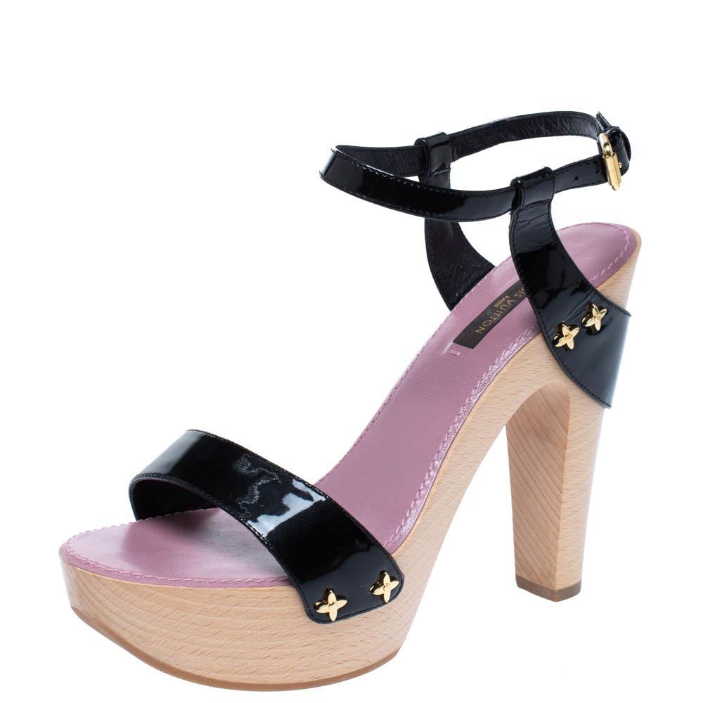 Louis Vuitton Black Patent Wooden Platform Block Heel Ankle Strap Sandals Size 36.5