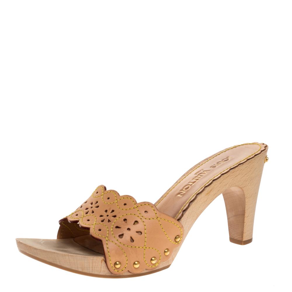 Louis Vuitton Beige Cut-out Leather Wooden Slide Clogs Size 38.5