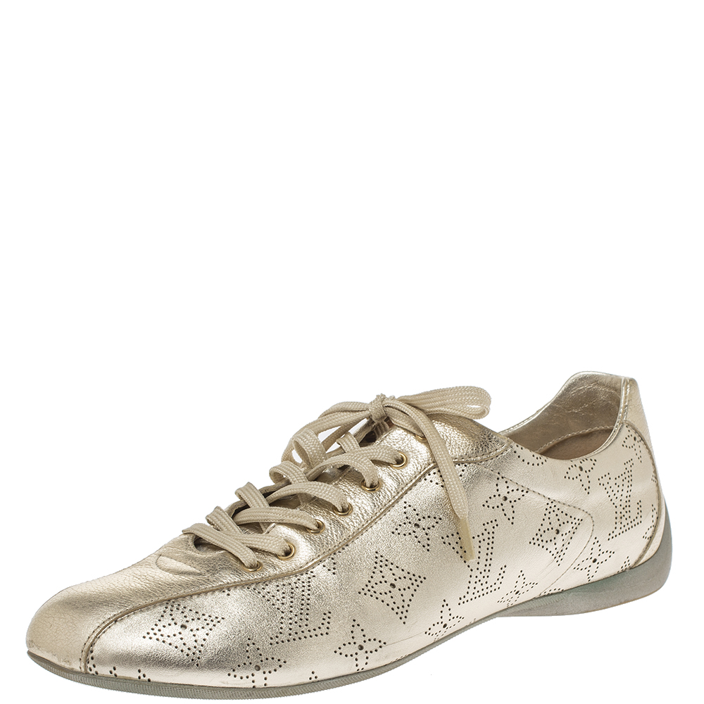 Pre-owned Louis Vuitton Metallic Gold Mahina Leather Trainers Sneakers Size 40.5