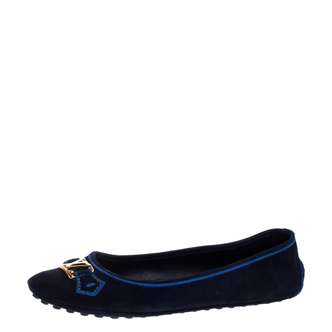 Pre-owned Louis Vuitton Navy Blue Suede Leather Logo Ballet Flats Size 39
