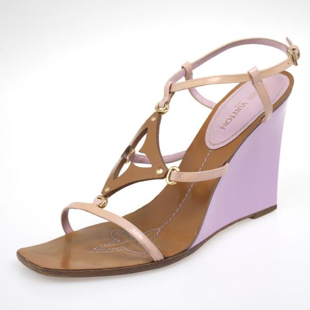 00003210c2e2 ... Louis Vuitton Brown Capricieuse Wedge Sandals Size 39.5. nextprev.  prevnext