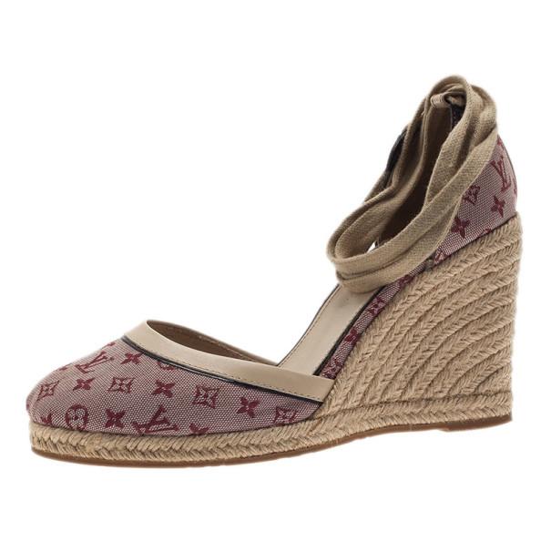 3fa57ff64f665 Louis Vuitton Pink Monogram Denim Espadrilles Wedges With Straps Size 39
