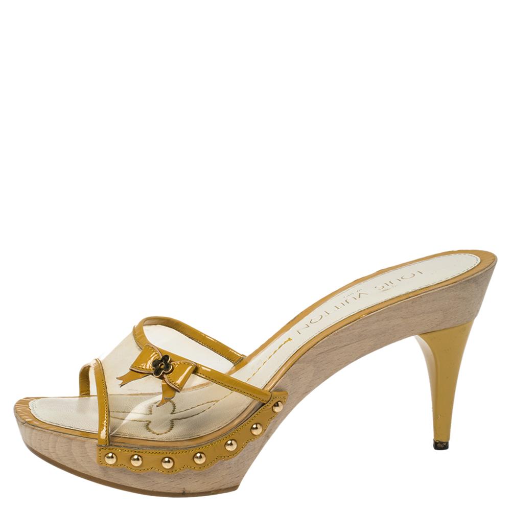 Louis Vuitton Yellow Patent Leather Trim and PVC Bow Detail Platform Clogs Size 36.5