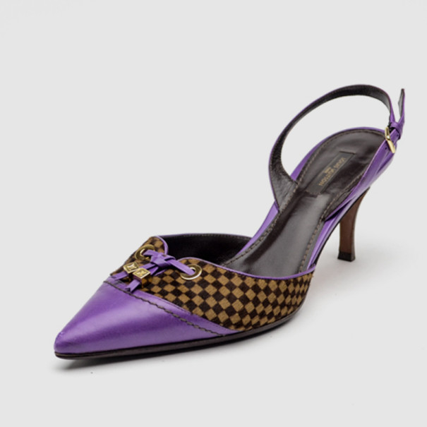 0e8552d42261 Buy Louis Vuitton Purple Leather With Damier Sauvage Pony Hair Fur  Slingback Sandals Size 40 33828 at best price