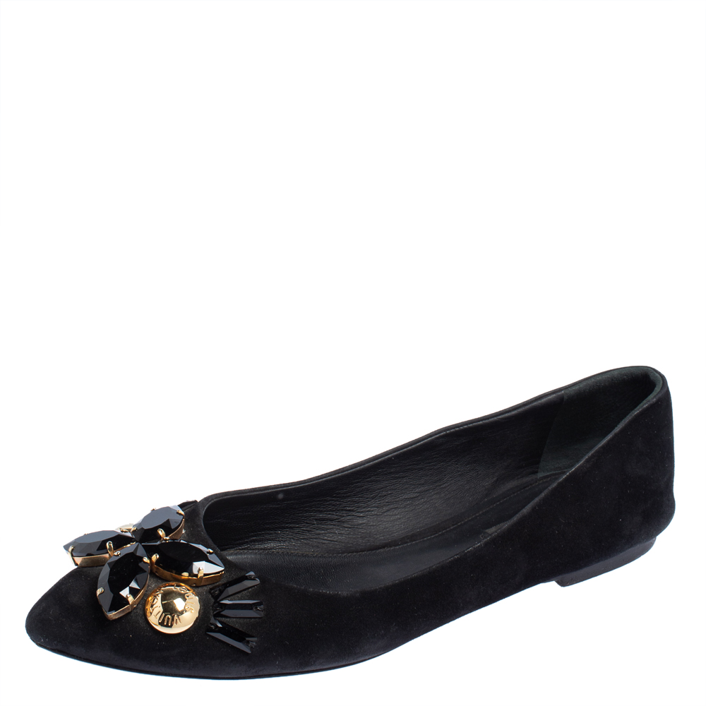 Louis Vuitton Black Suede Embellished Ballet Flats Size 40