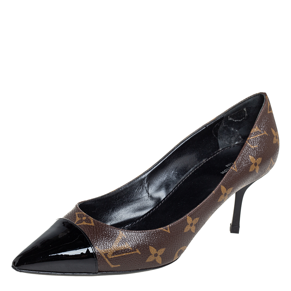 Pre-owned Louis Vuitton Brown Monogram Canvas And Patent Leather Cap Toe Fetish Pointed Toe Pumps Size 38.5