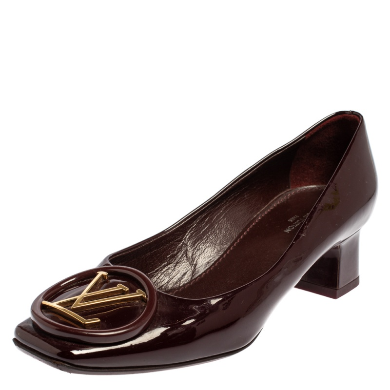 Pre-owned Louis Vuitton Burgundy Patent Leather Lv Logo Block Heel Pumps Size 36