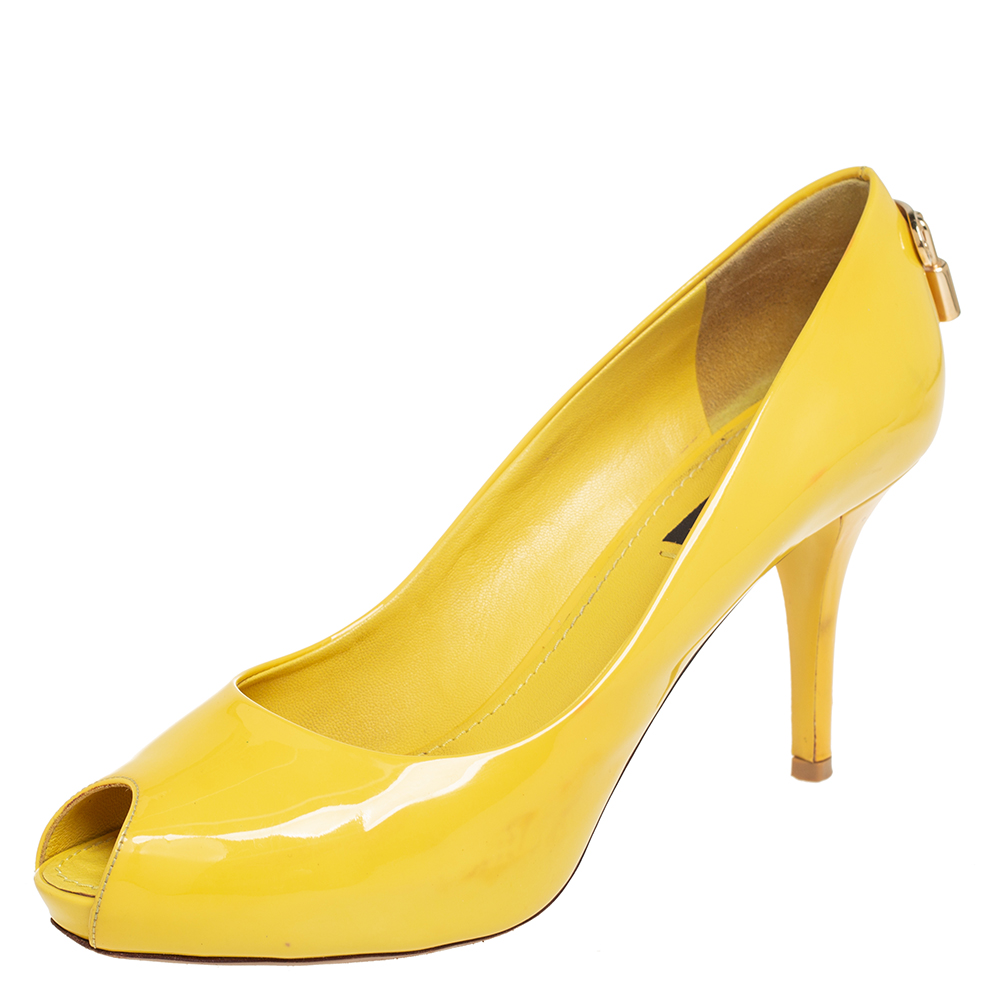 Pre-owned Louis Vuitton Yellow Patent Leather Oh Really! Peep Toe Pumps Size 38