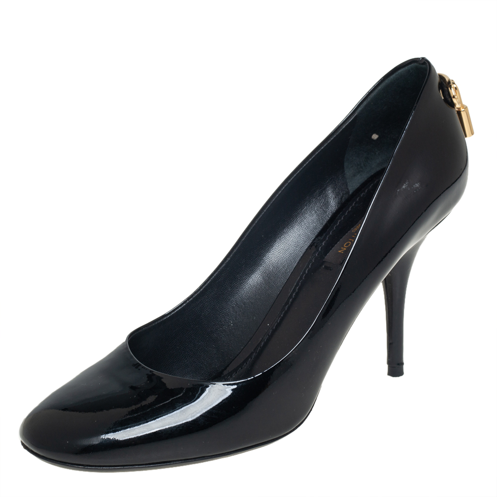 Pre-owned Louis Vuitton Black Patent Leather Oh Really! Platform Pumps Size 37.5
