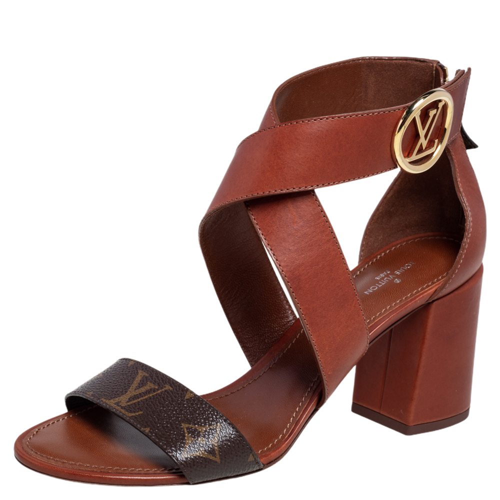 Pre-owned Louis Vuitton Brown Monogram Canvas And Leather Ocean Drive Ankle Strap Sandals Size 39