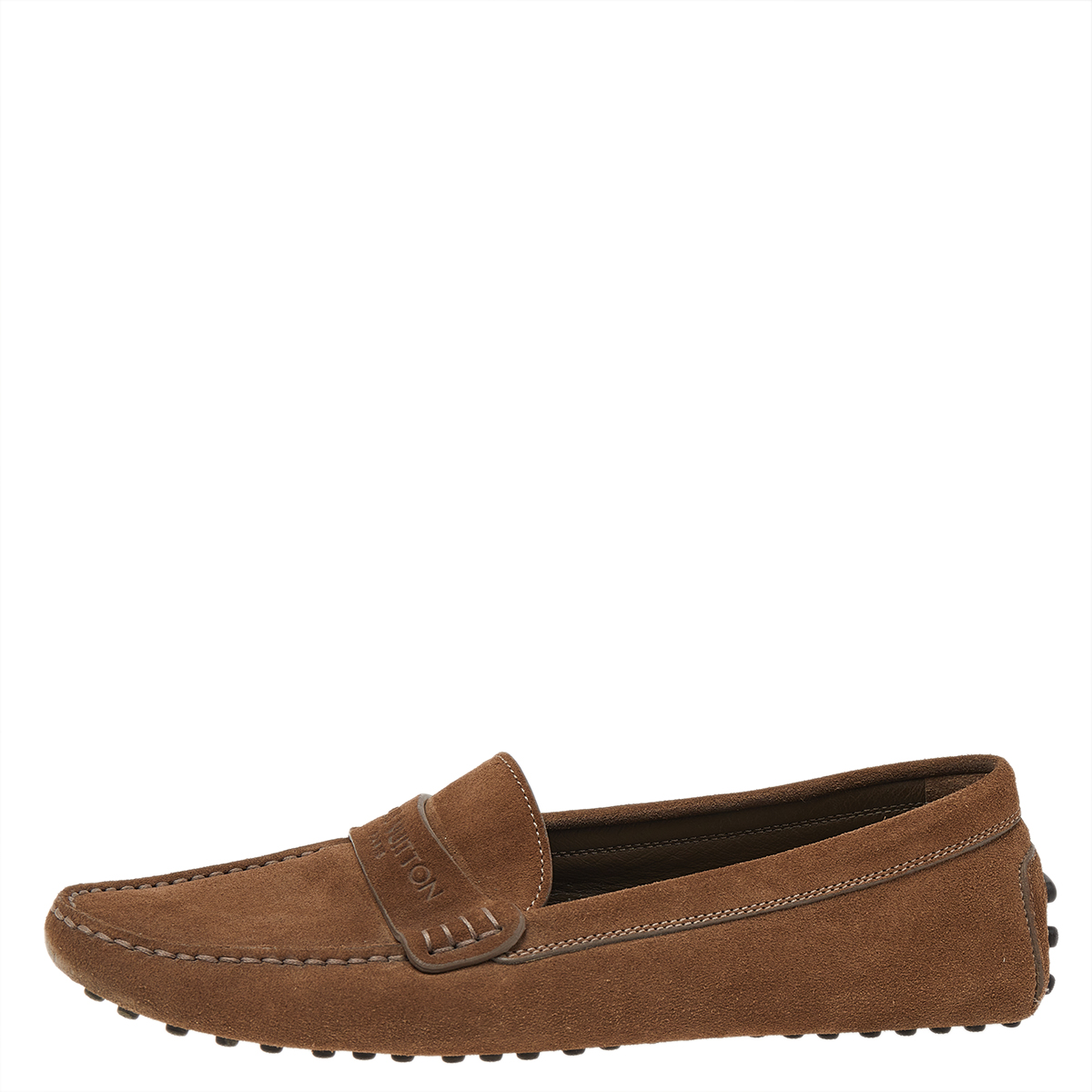 Louis Vuitton Brown Suede Slip On Loafers Size 37