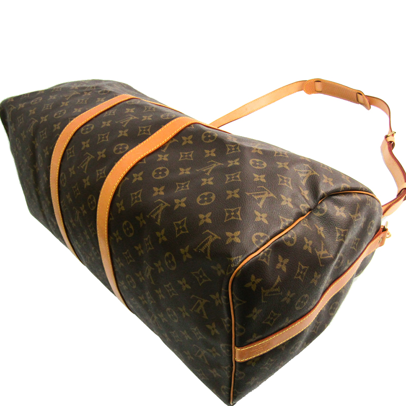Louis Vuitton Monogram Canvas Keepall Bandouliere 55 Bag, Brown