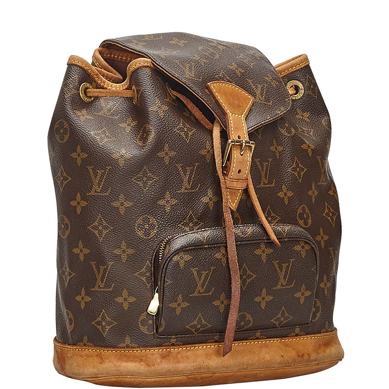 Louis Vuitton Monogram Canvas and Leather Montsouris MM Backpack, Brown